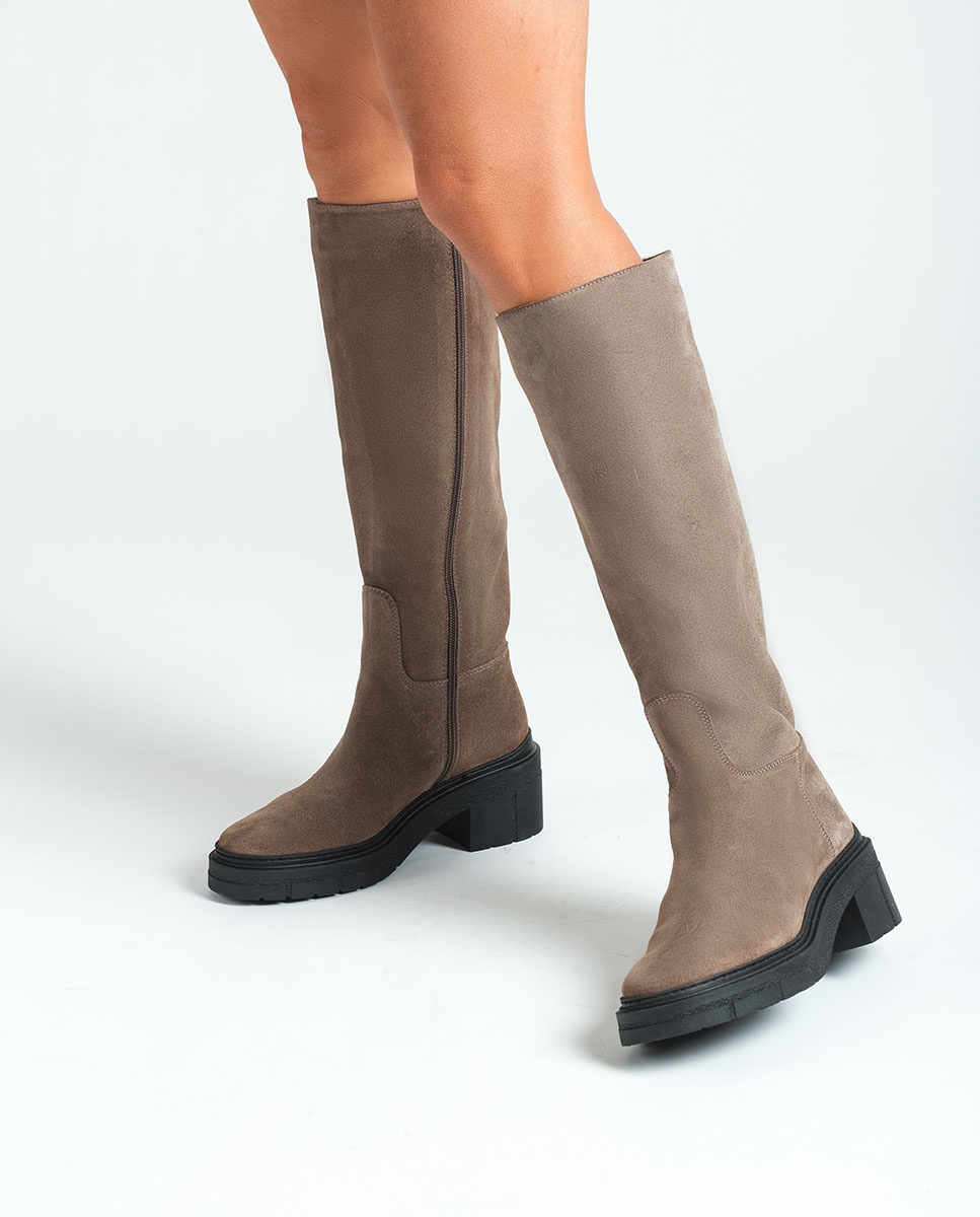 UNISA Kid suede boots track sole JOSUA_BS taupe 2