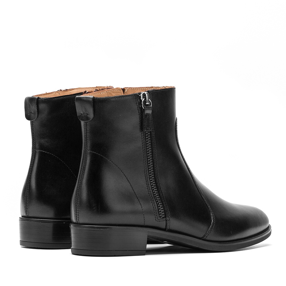 UNISA Flat leather bootie moka BRAS_NE black 2