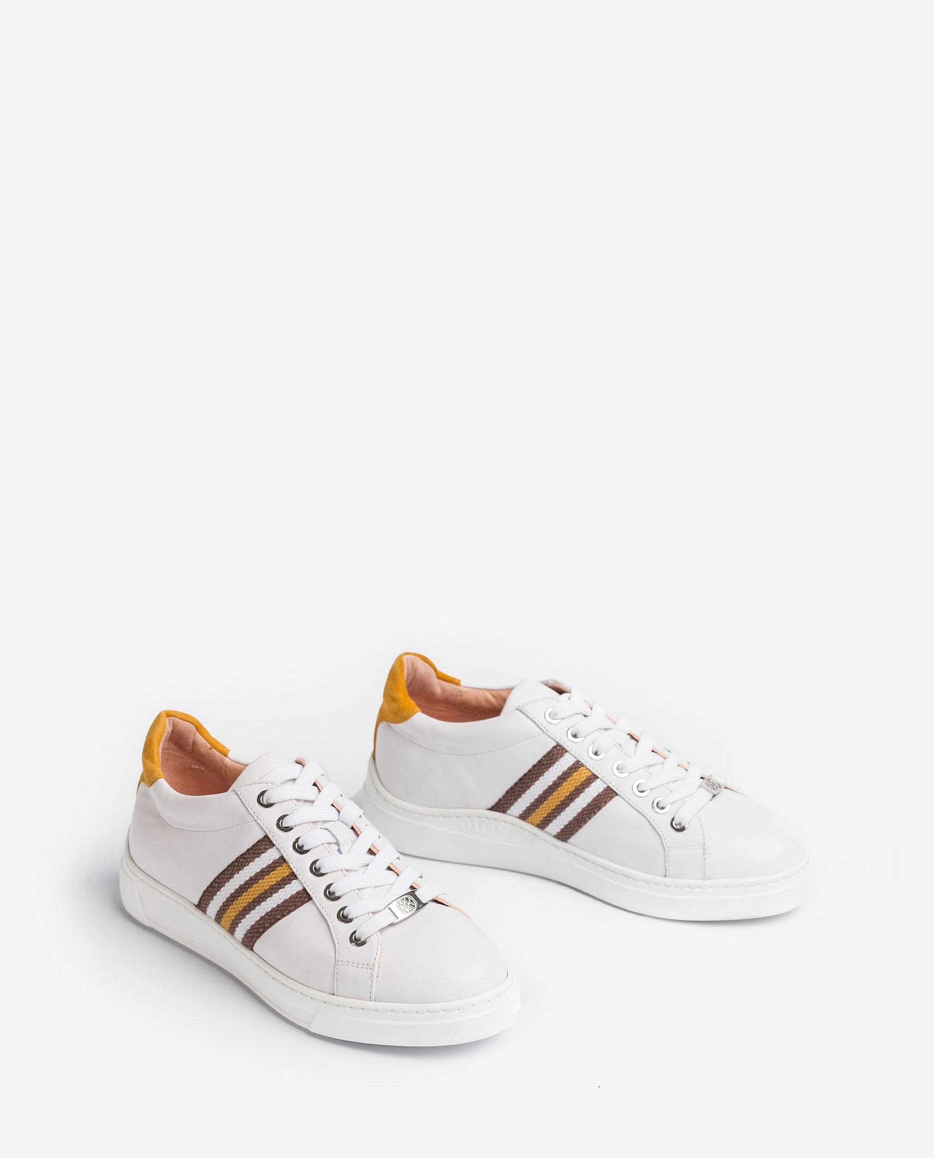 UNISA Leather sneakers embellished with multi-coloured band FAROLA_21_NF 2