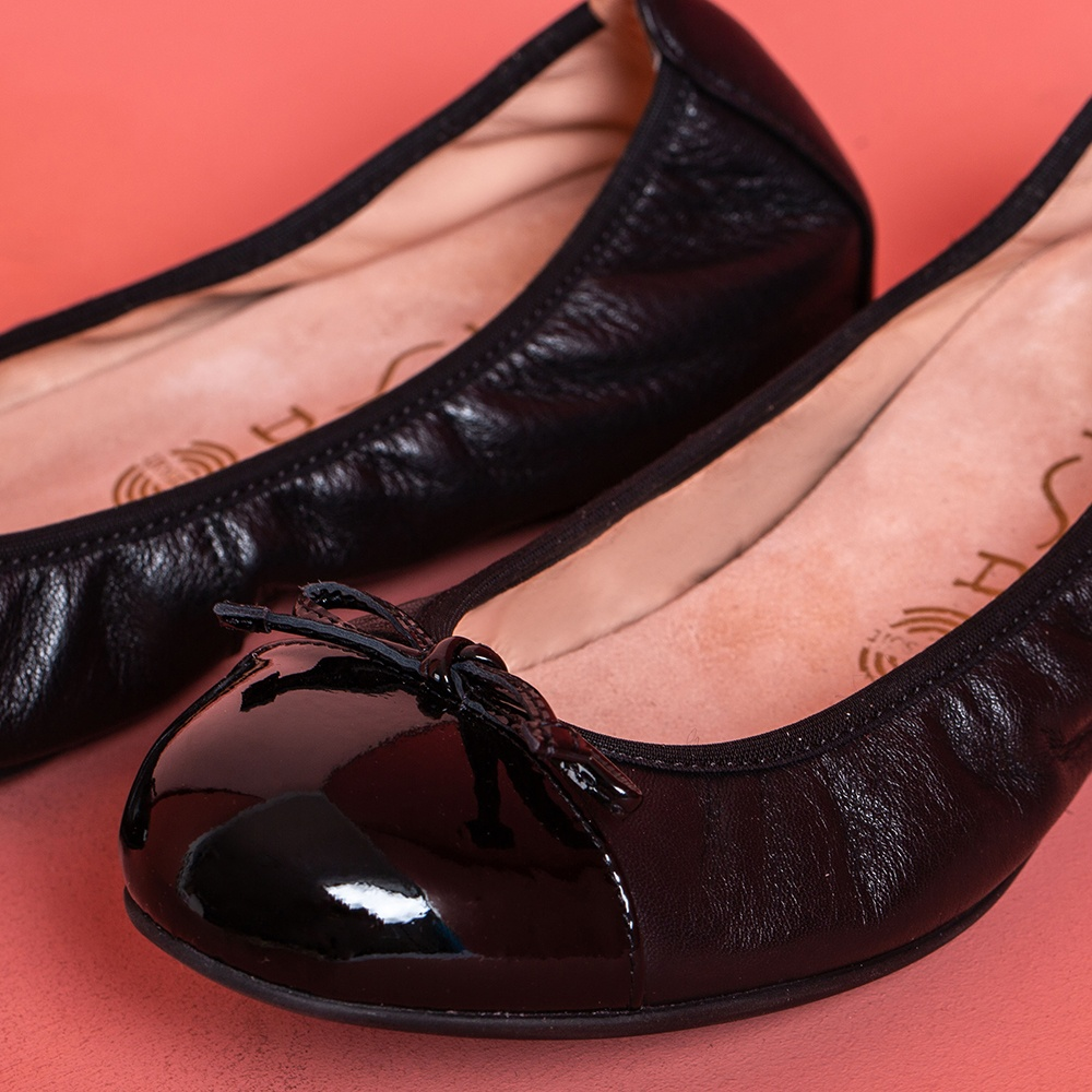 UNISA Patent leather contrast ballerina AUTO_F19_NA_PA black 2