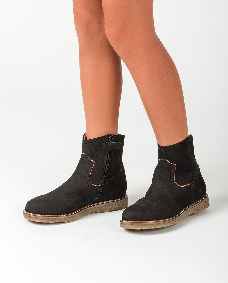 UNISA Little girl's shiny booties NOLAN_F20_BLU black 2