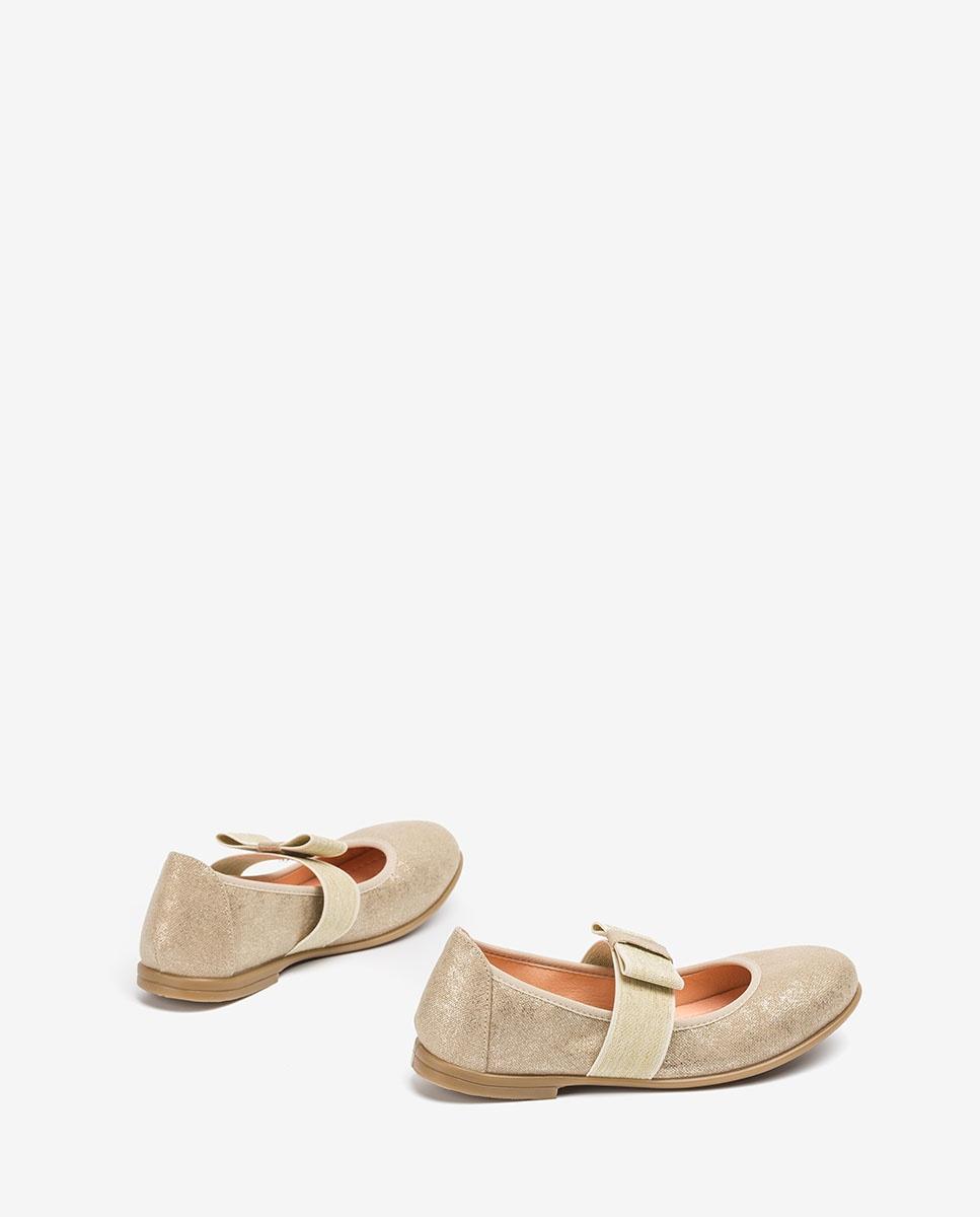 UNISA Golden Mary Jane shoes with bow SAMA_20_TP platino 2