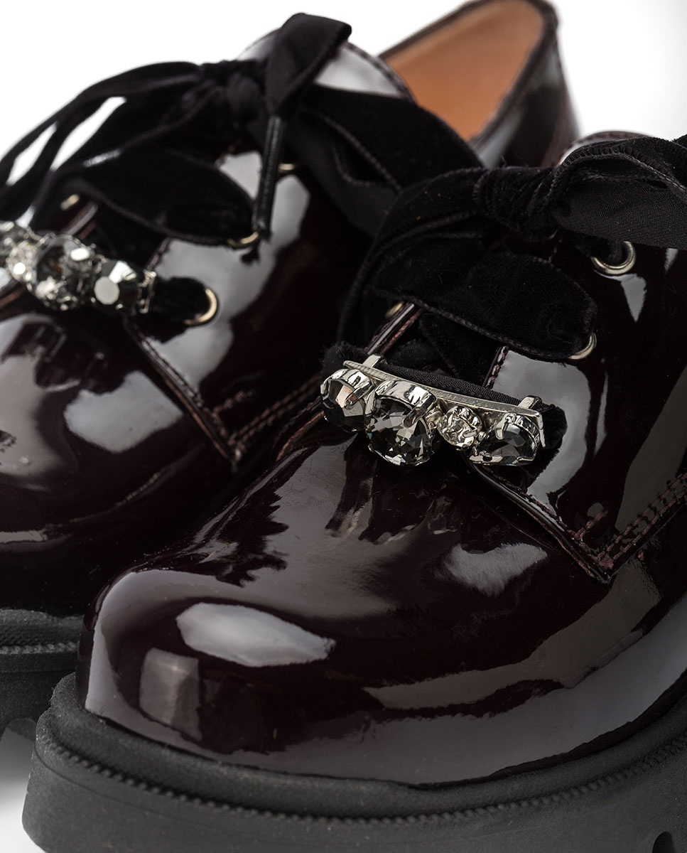 UNISA Little girl´s engraved shiny leather ballerinas PUCK_F20_PA grape 2
