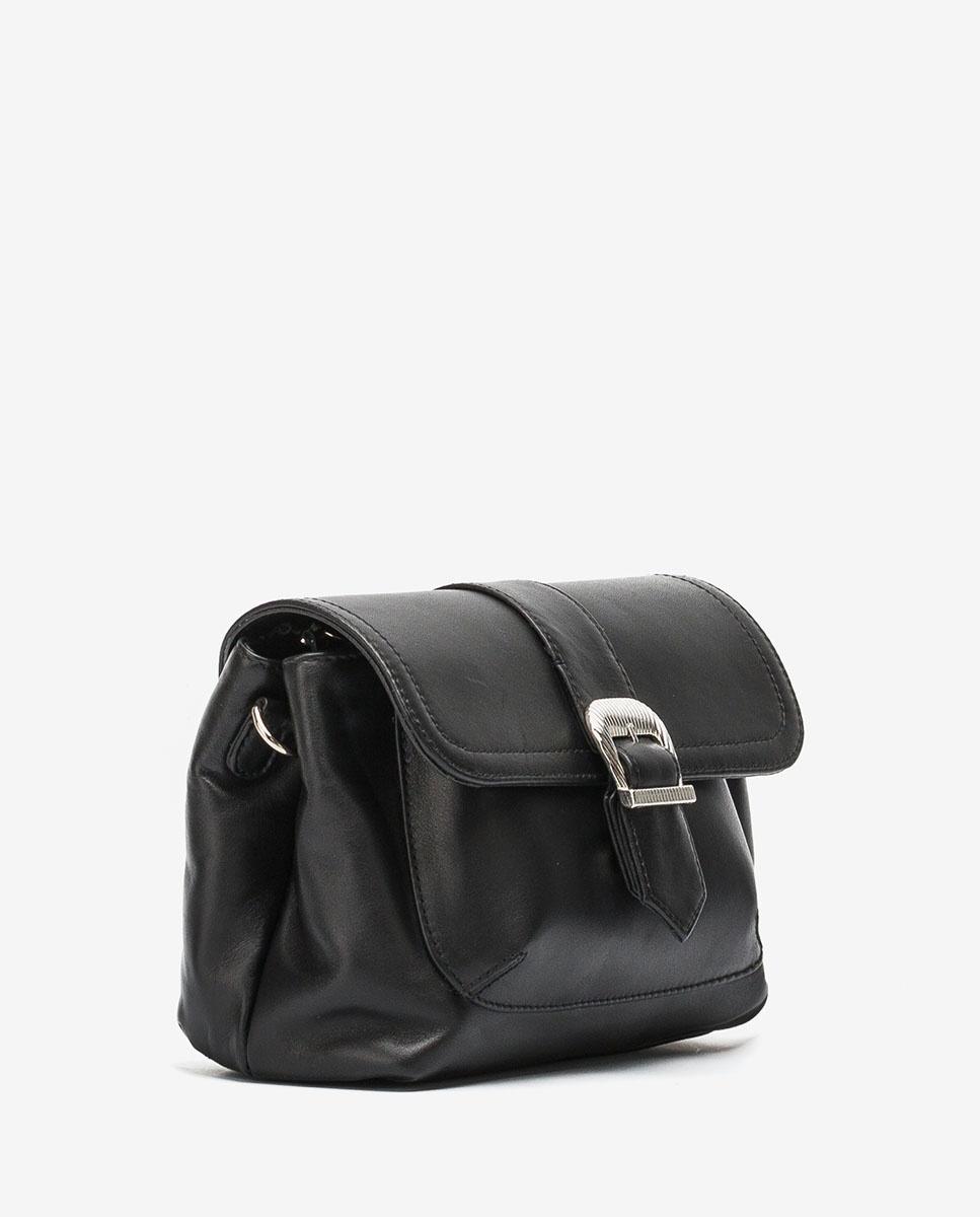 UNISA Leather handbag with shoulder strap ZDILAN_NT black 2