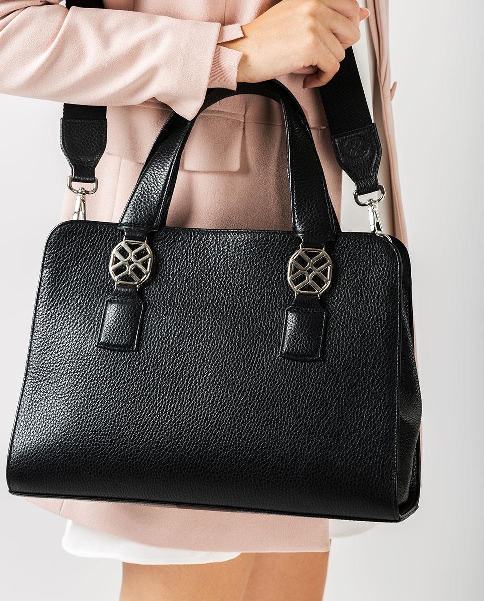 UNISA Medium size leather handbag ZNANA_MM black 2
