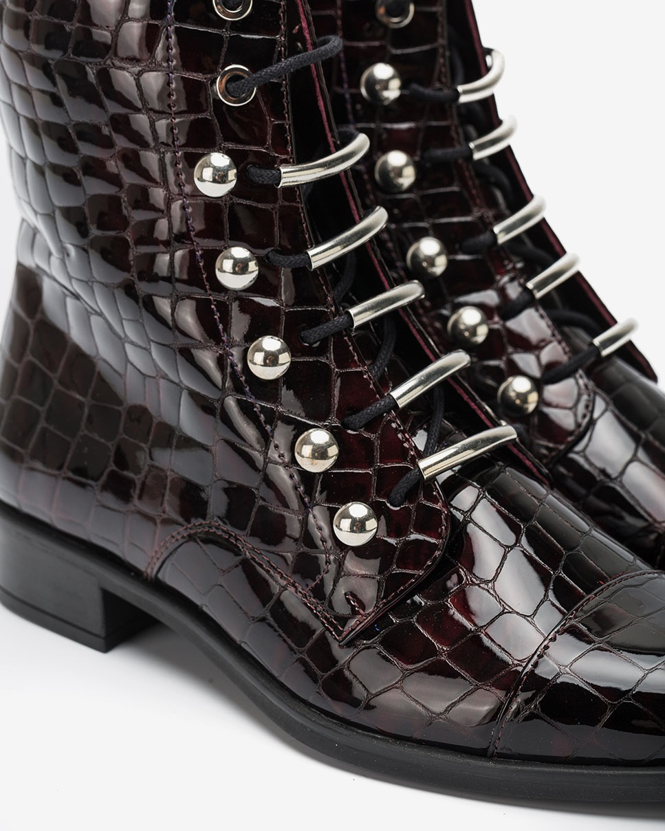 UNISA Burgundy lace up ankle boots BARO_CSH grape 2