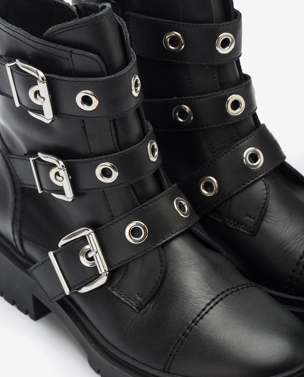 UNISA Black biking ankle boots with buckles GUISA_NF black 2