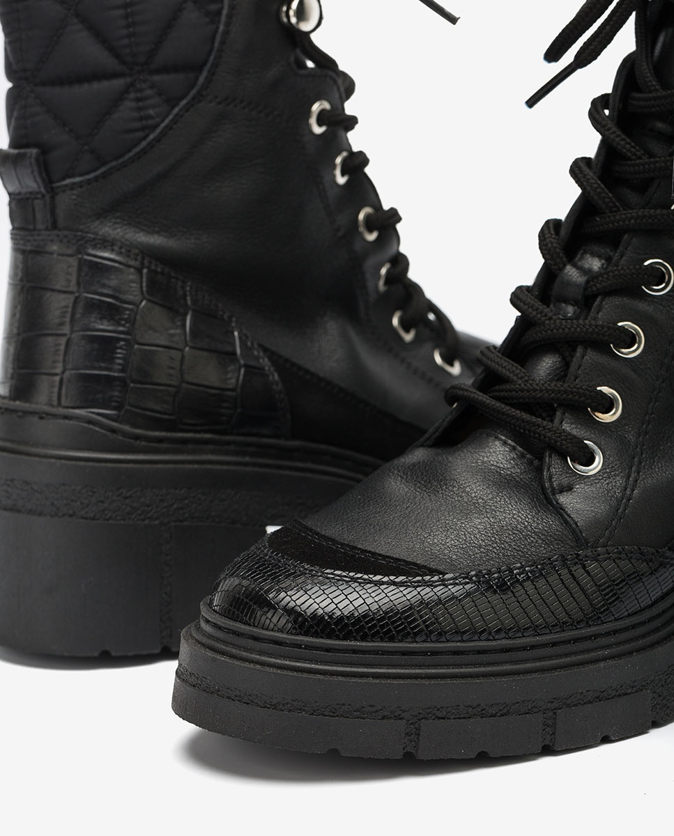 UNISA Black contrast lace up ankle boots JASON_CRE black 2