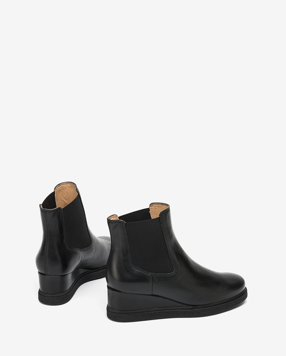 UNISA Black wedge Chelsea ankle boots JEME_CRE black 2