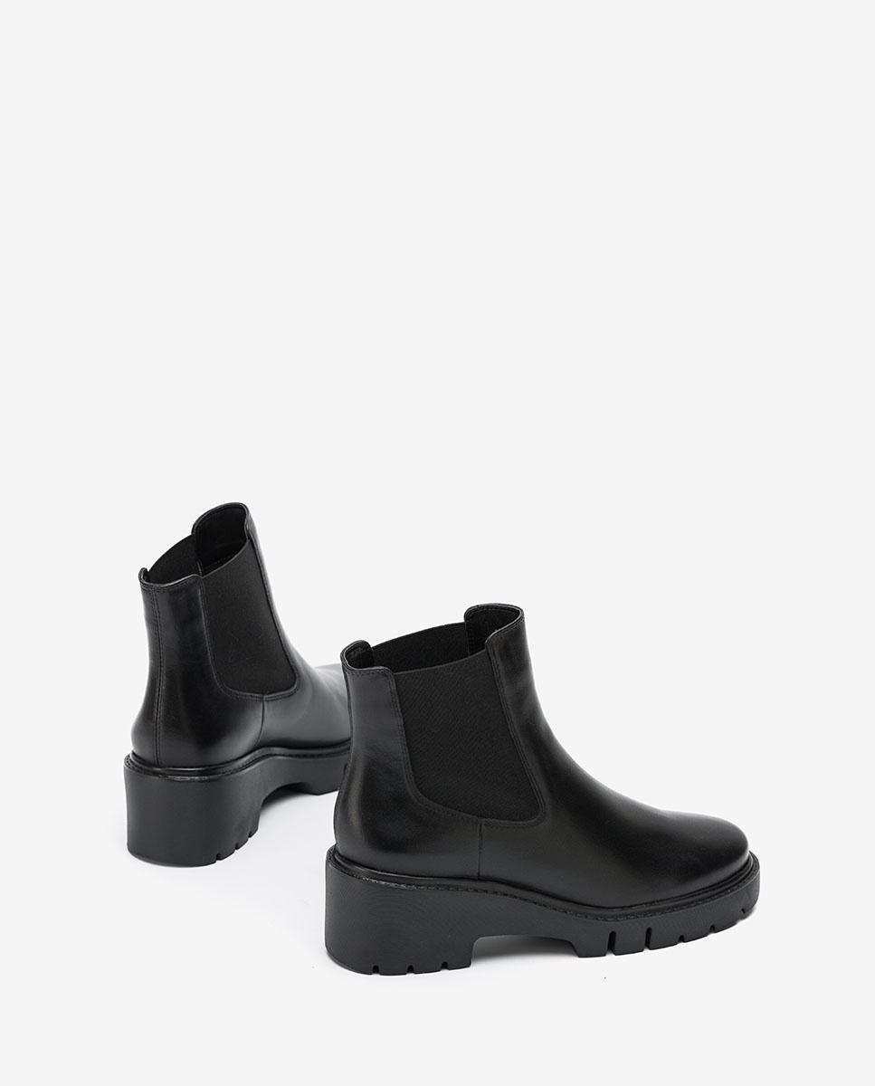 UNISA Black Chelsea ankle boots track soles JEROME_VU black 2