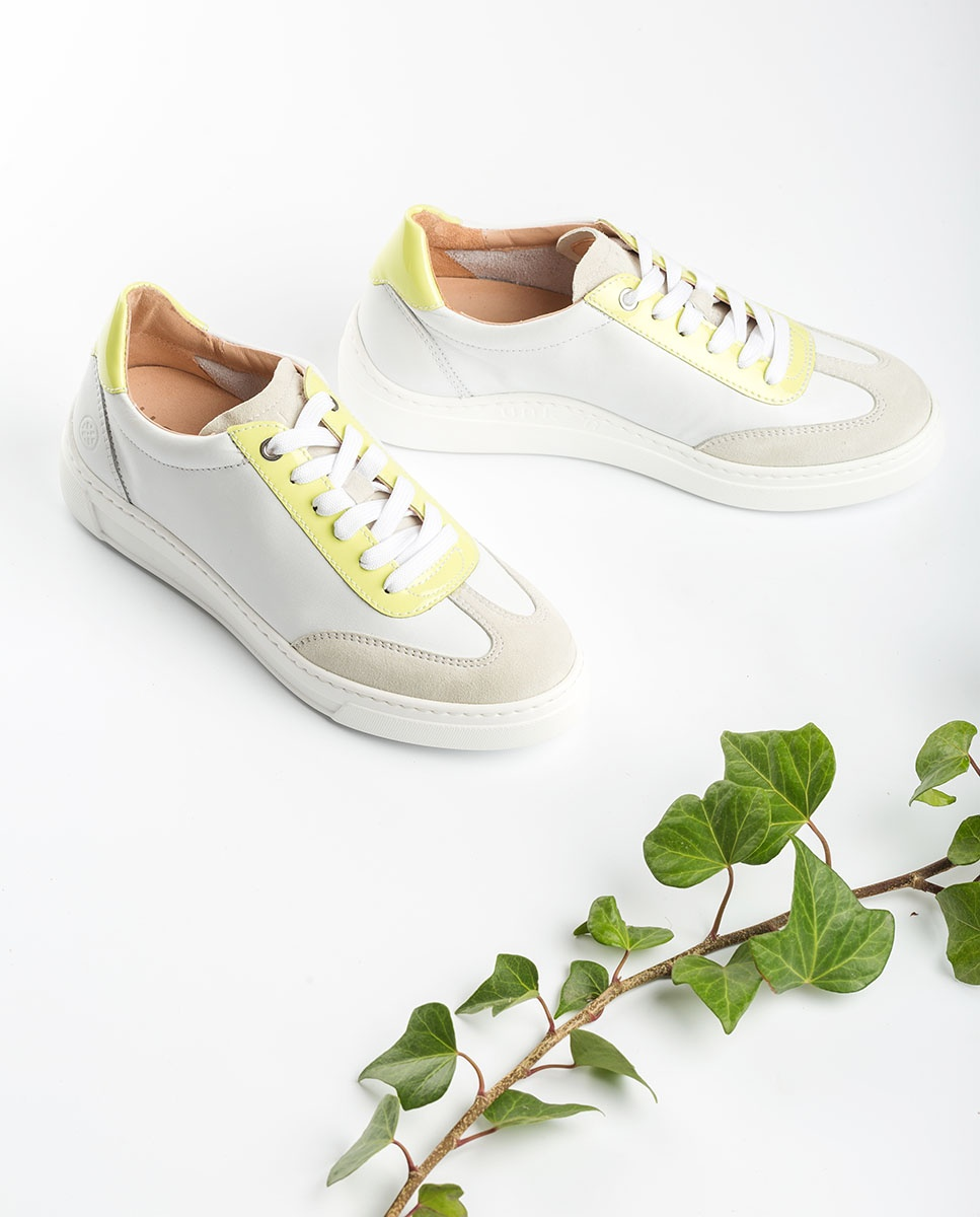 UNISA White sneakers color detail FELIS_NF_PA white/lime 2