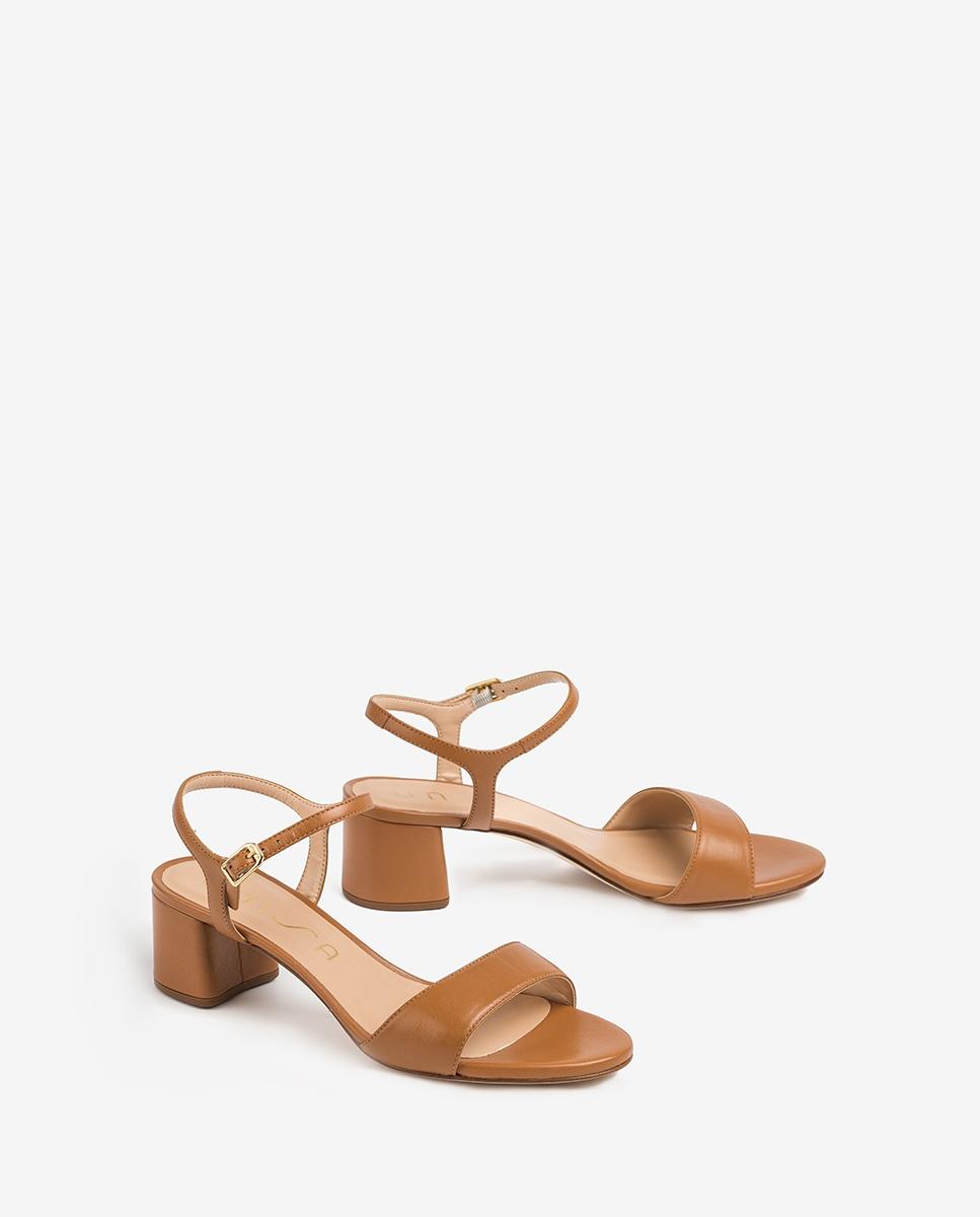 UNISA Leather sandals medium heel GENTO_NA bisquit 2