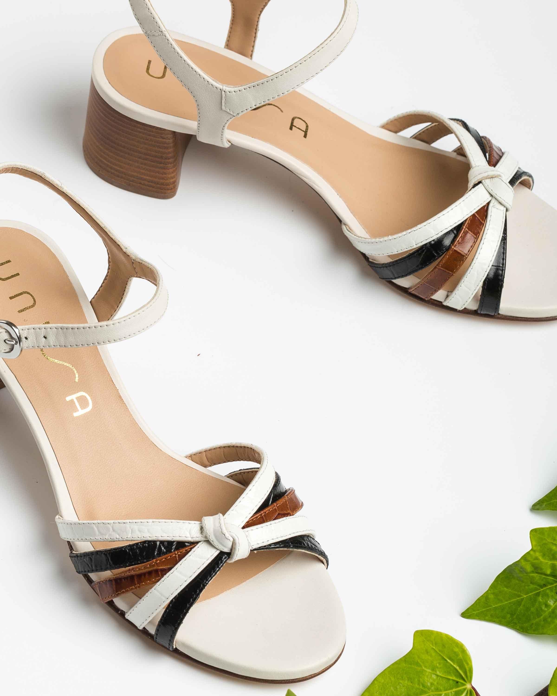 UNISA Croc contrast straps sandals GRATA_CRW_KS blk/ivo/sa 2
