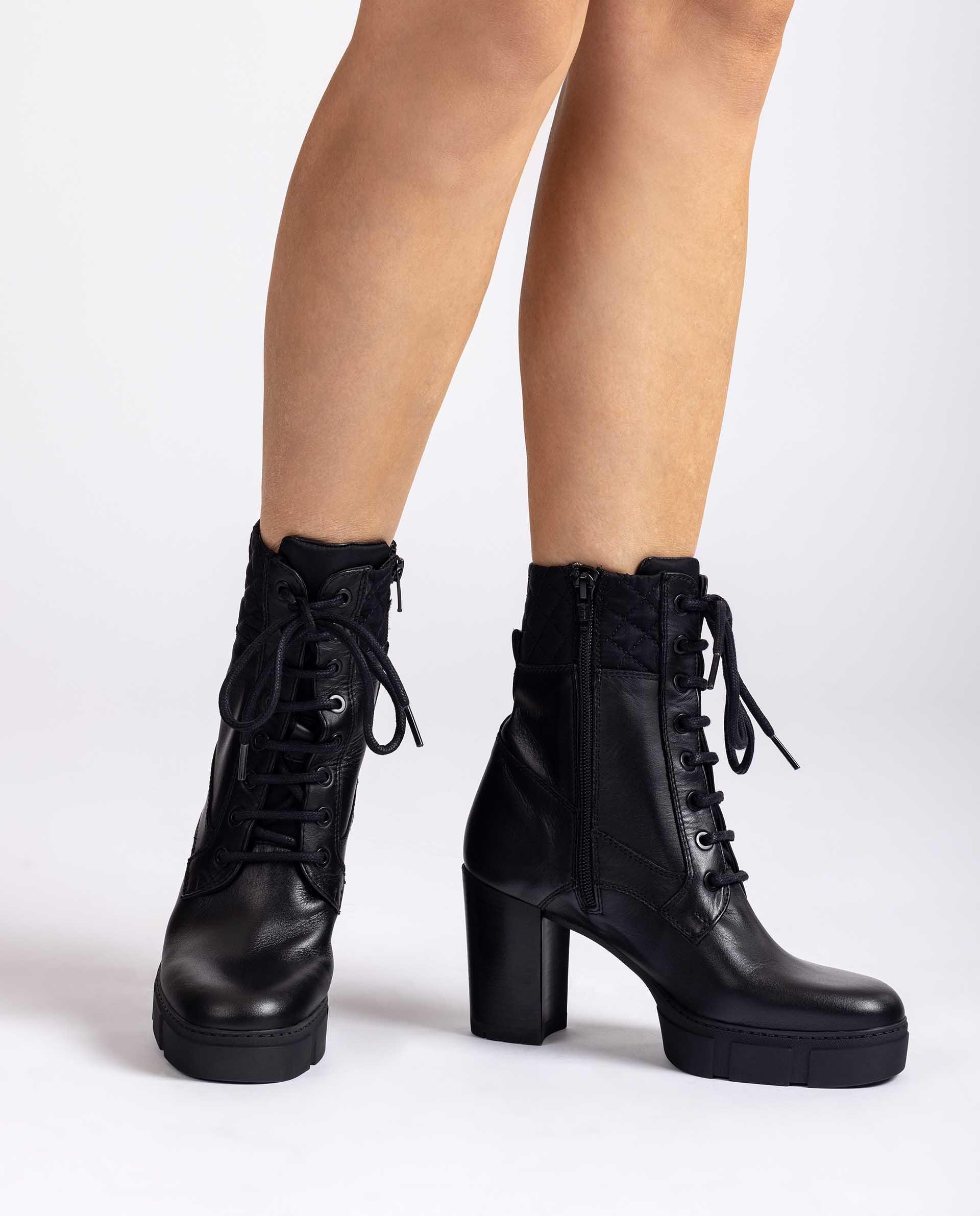 UNISA Leather ankle boots with laces and inner zip KUDU_NF 2