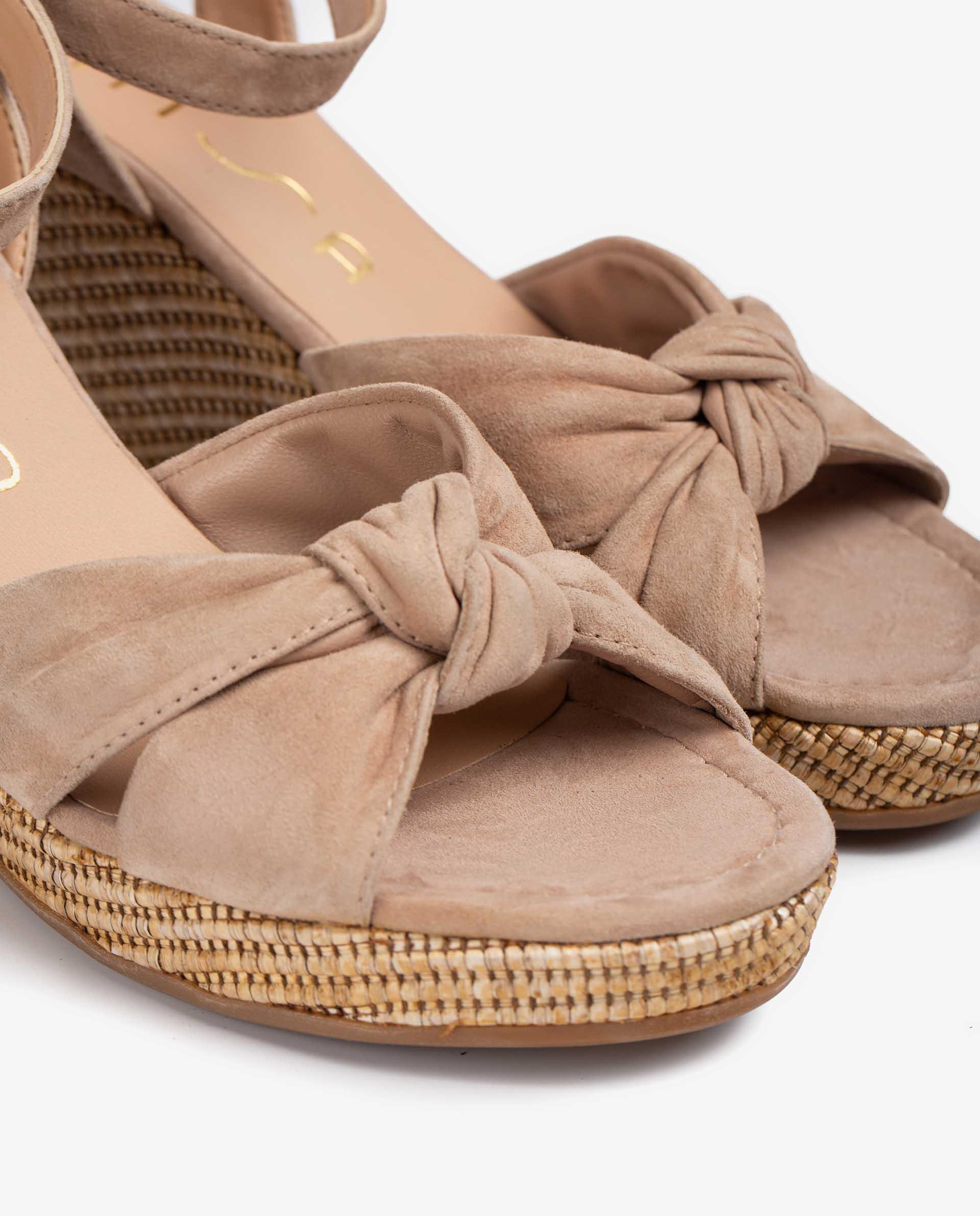 UNISA Kid suede sandals with straps tied up in a knot LAZKAO_KS 2