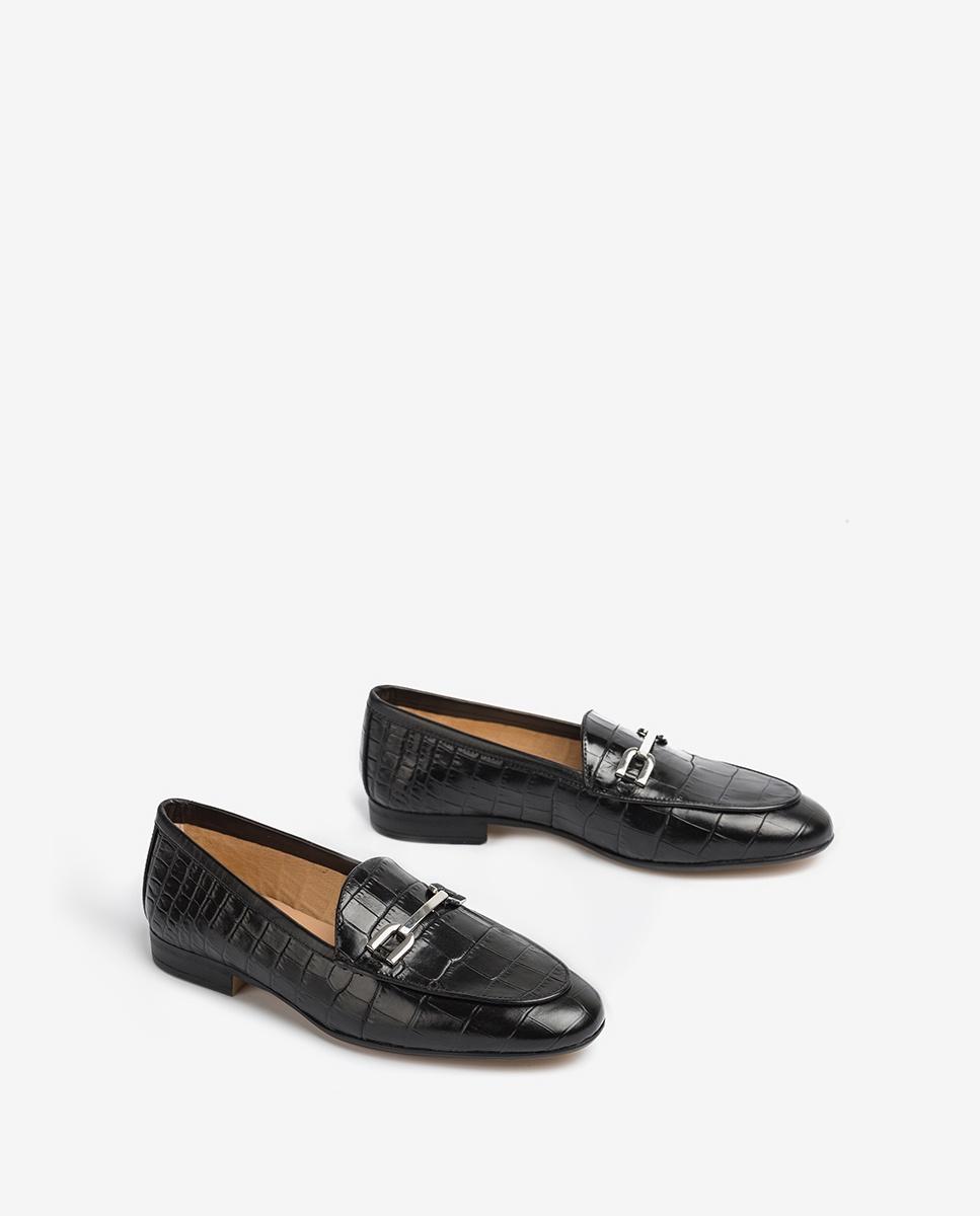 UNISA Croc effect leather loafers DALCY_CRW black 2