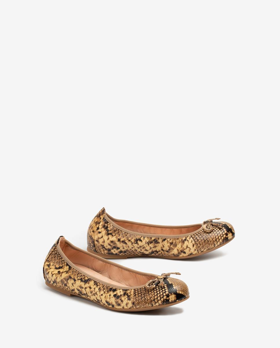 UNISA Snake effect leather ballerinas ACOR_20_VIP ginger 2