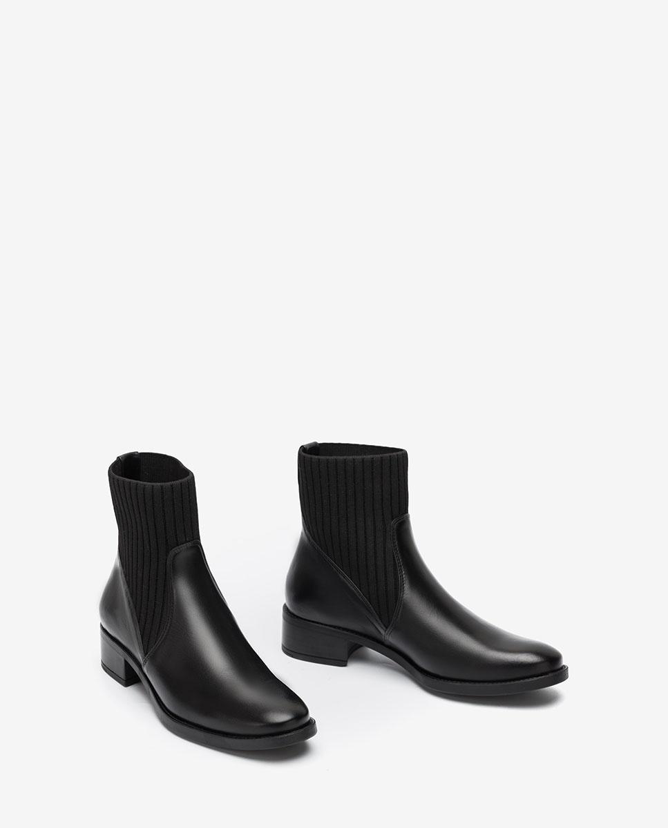 UNISA Botín negro de piel con calcetín ELLEN_F20_NE black