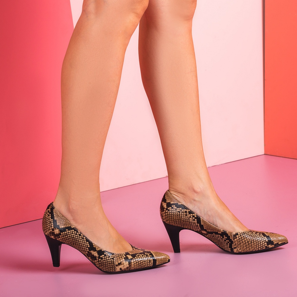 UNISA Snake effect leather pumps with wood effect heels KEALA_VP ginger 2