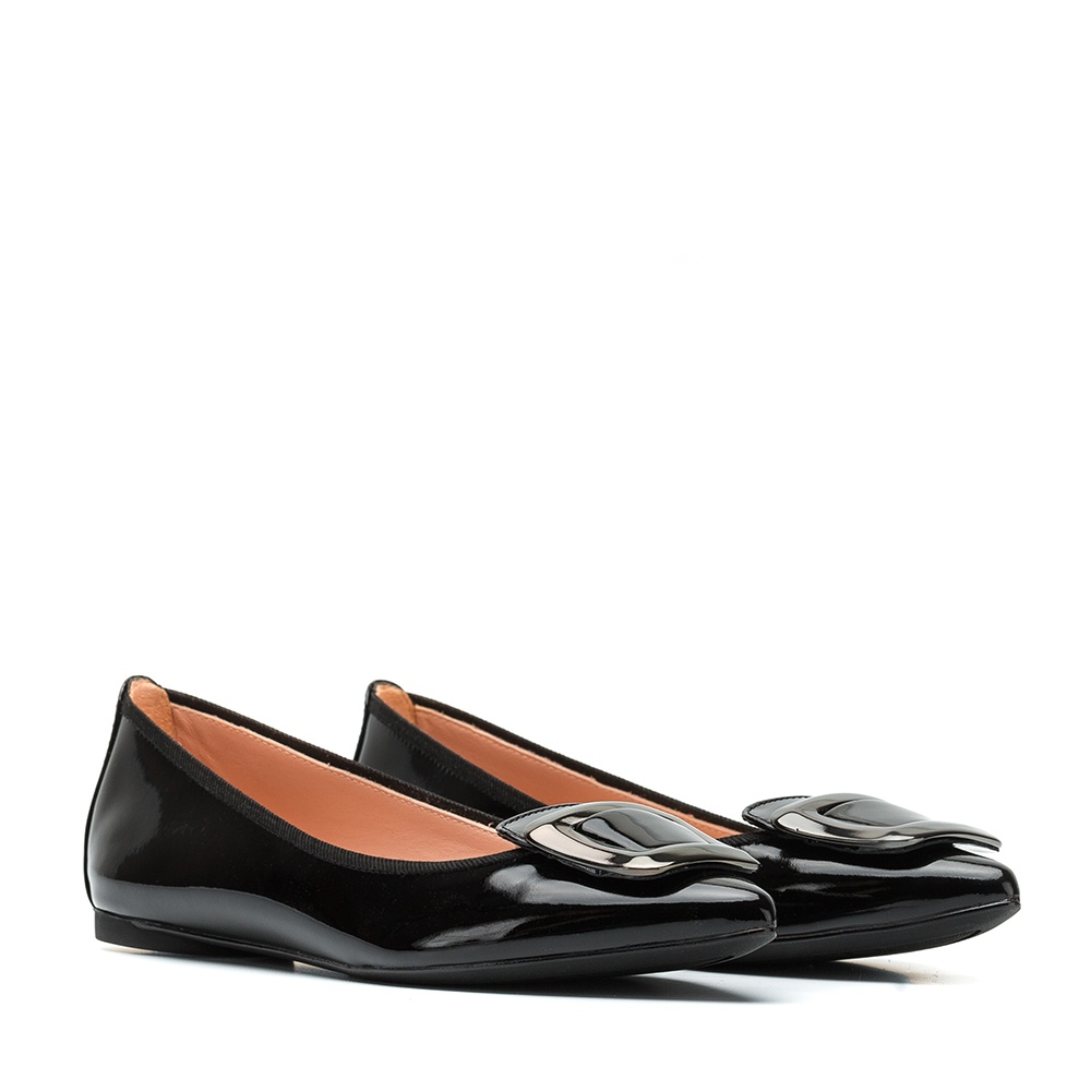 UNISA Patent leather ballerina with buckle ABDEL_PA black 2