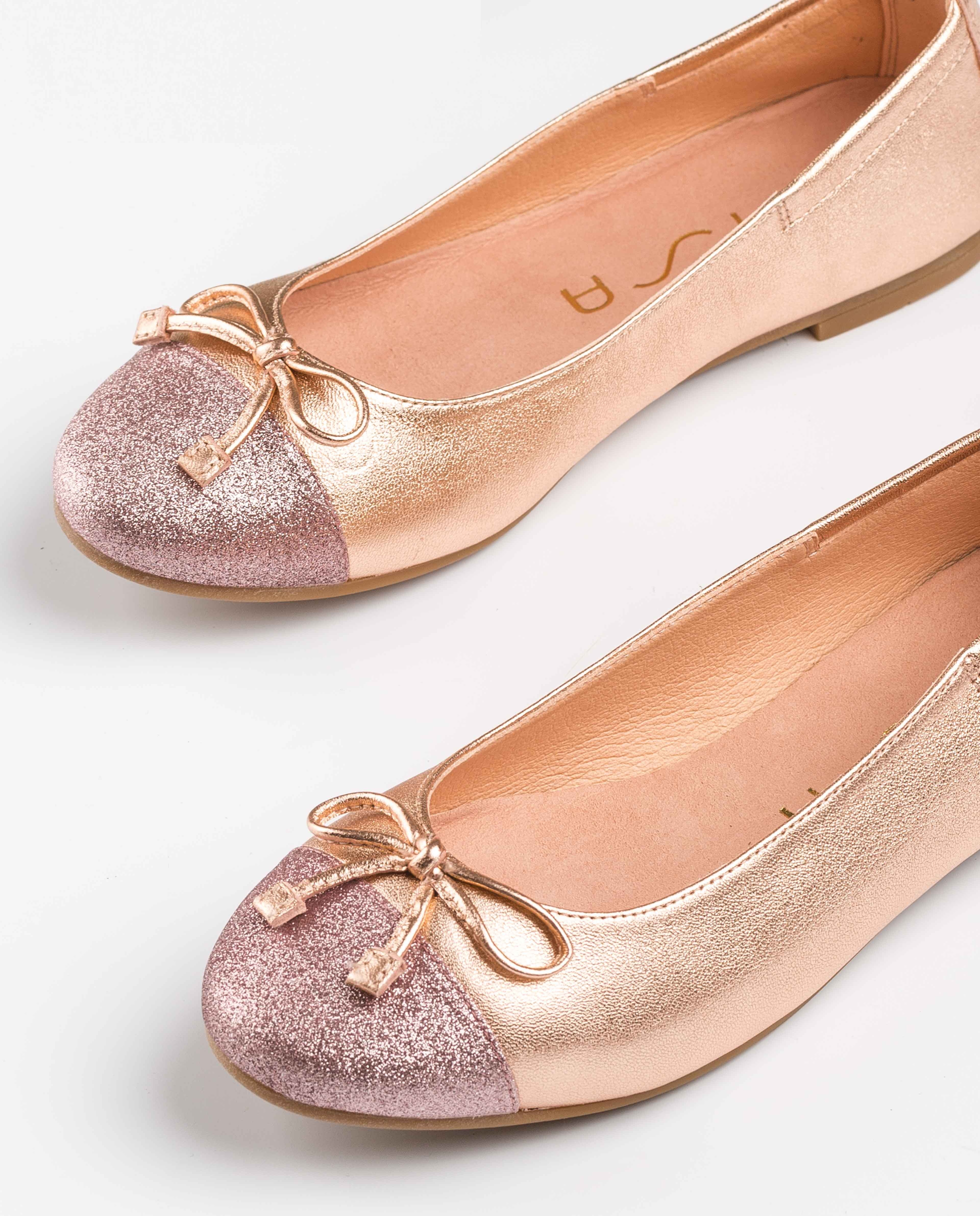 UNISA Contrast metal effect ballerinas for little girls DINO_20_LMT_SI ballet 2