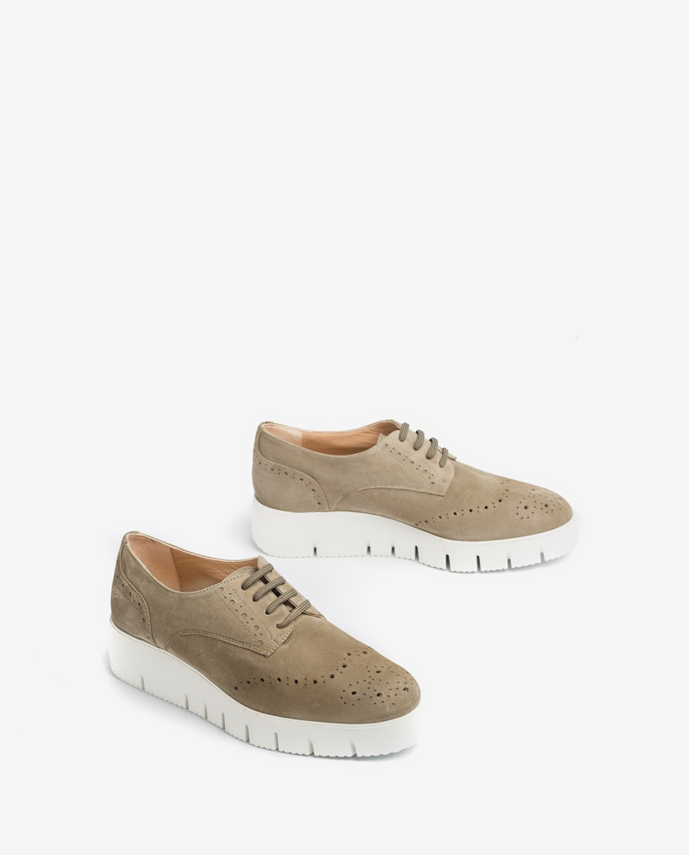 UNISA Perforated kid suede derby shoes with platform FERRAZ_KS lauro 2
