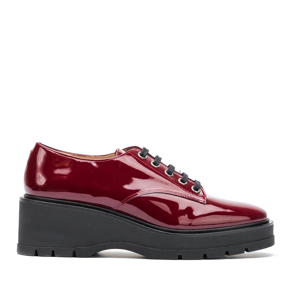 UNISA Patent leather Derby platform shoes GONDOLA_PA red velvet 2