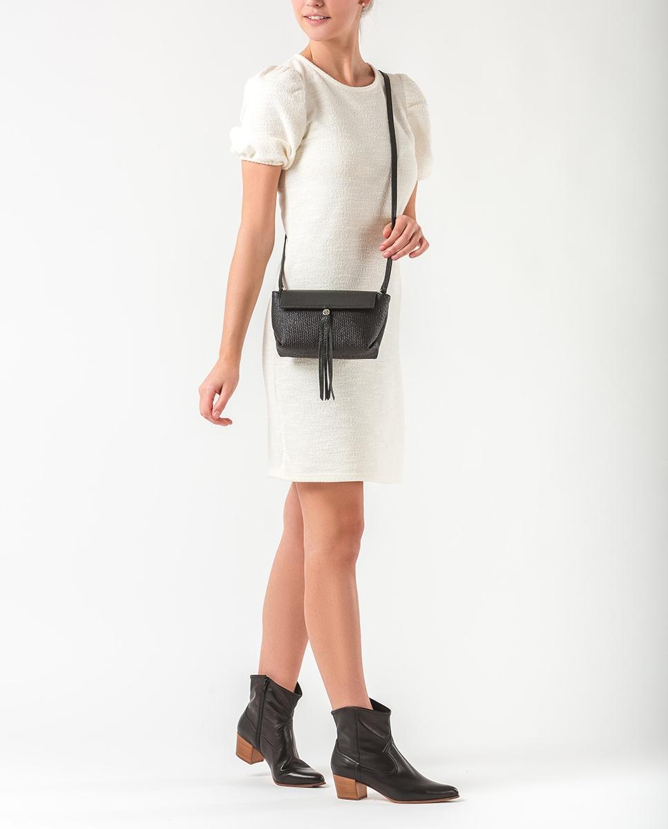 UNISA Mini black raffia shoulder bag ZALESKA_MM_ROP black 2