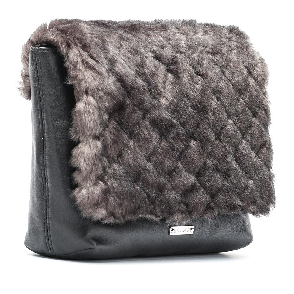UNISA Shoulder bag gray fur flap ZCOPES_NT_RR black/grey 2