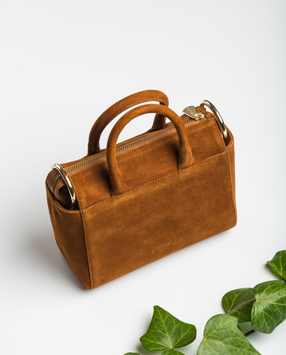 UNISA Kid suede shoulder bag with handle ZGESTA_KS cuir 2