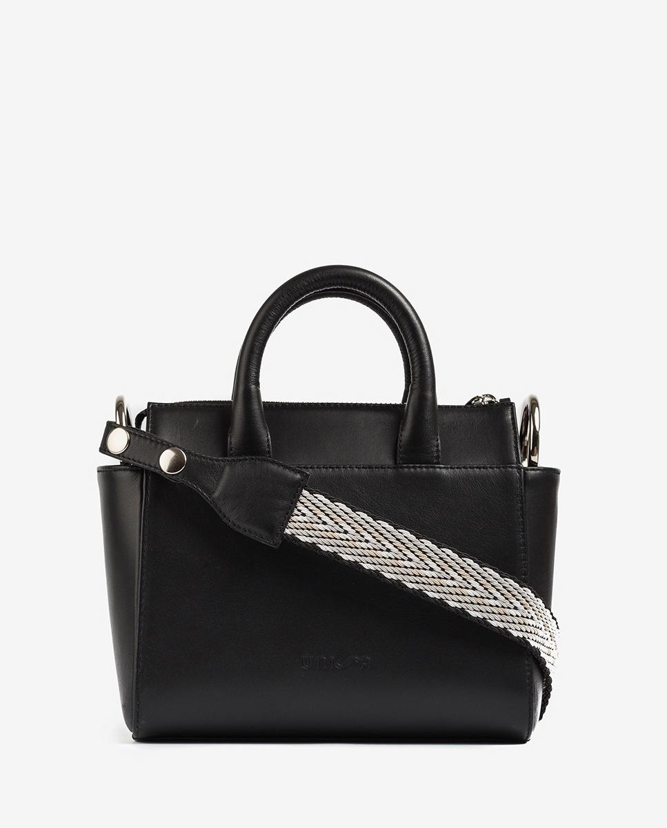 UNISA Leather shoulder bag with handle ZGESTA_NT black 2