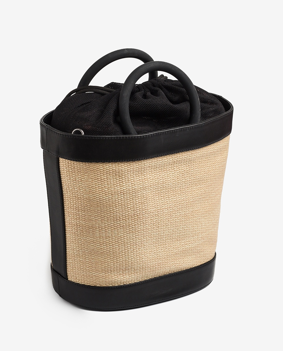 UNISA Raffia contrast handbag ZNADIA_NT_RGR black/natu 2
