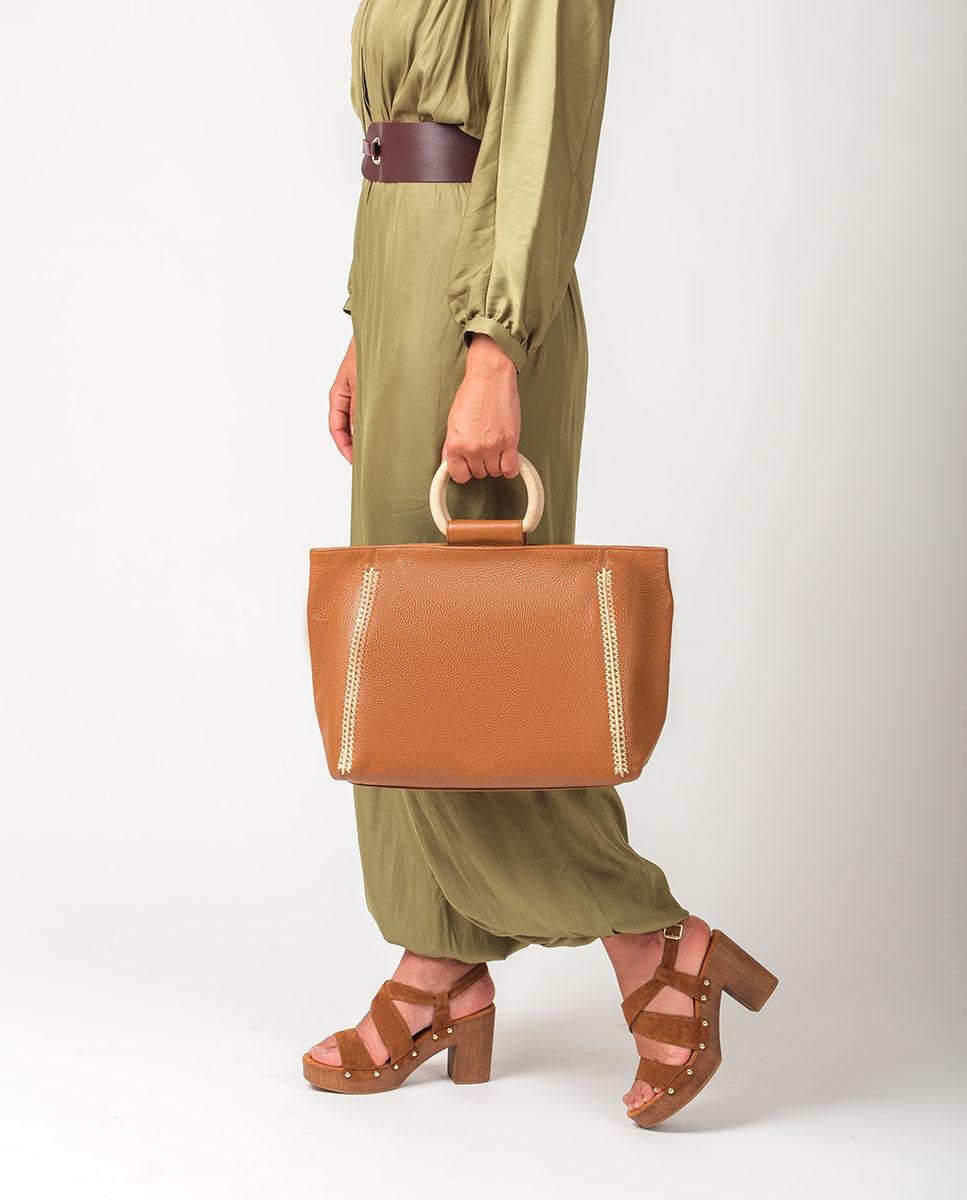 UNISA Wood handle shopper bag ZSEYLA_MM bisquit 2