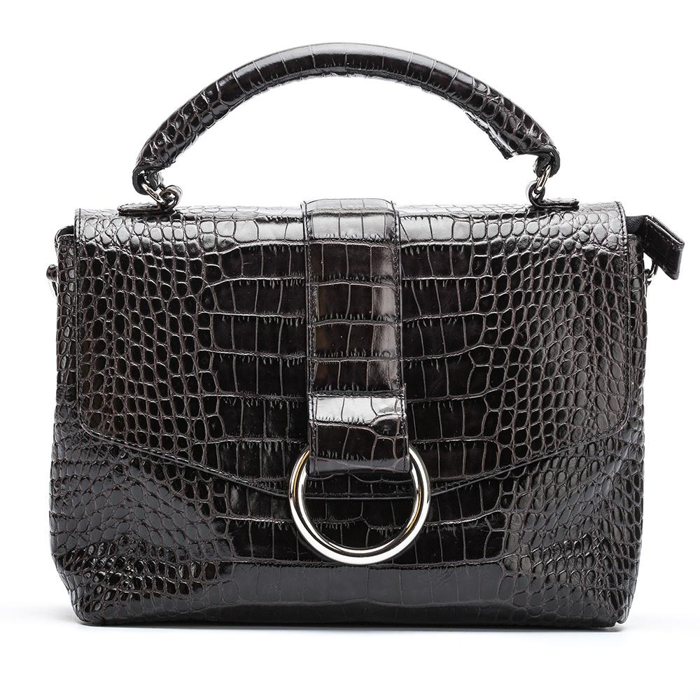 UNISA Engraved leather handbag ZGUISO_SR carbon 2