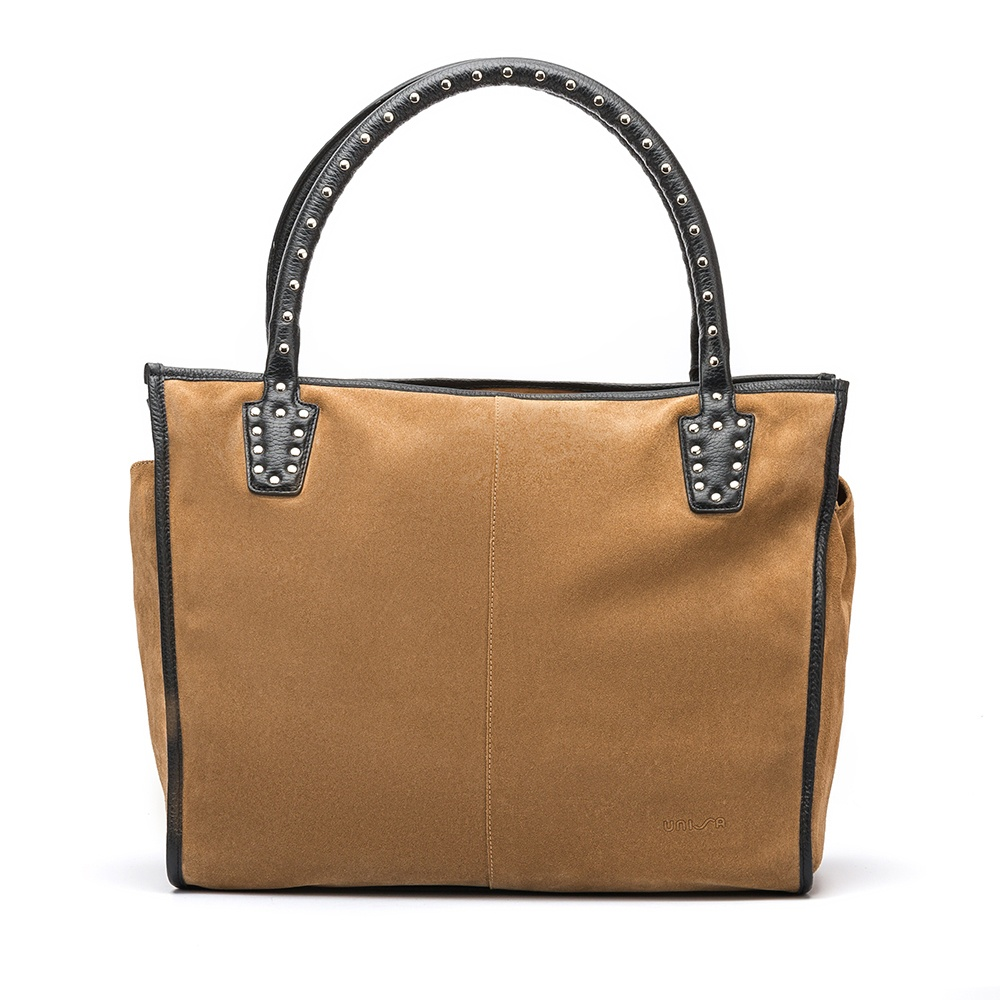 UNISA Brown tote bag with studs ZTRUS_BS_MM ginger/blk 2