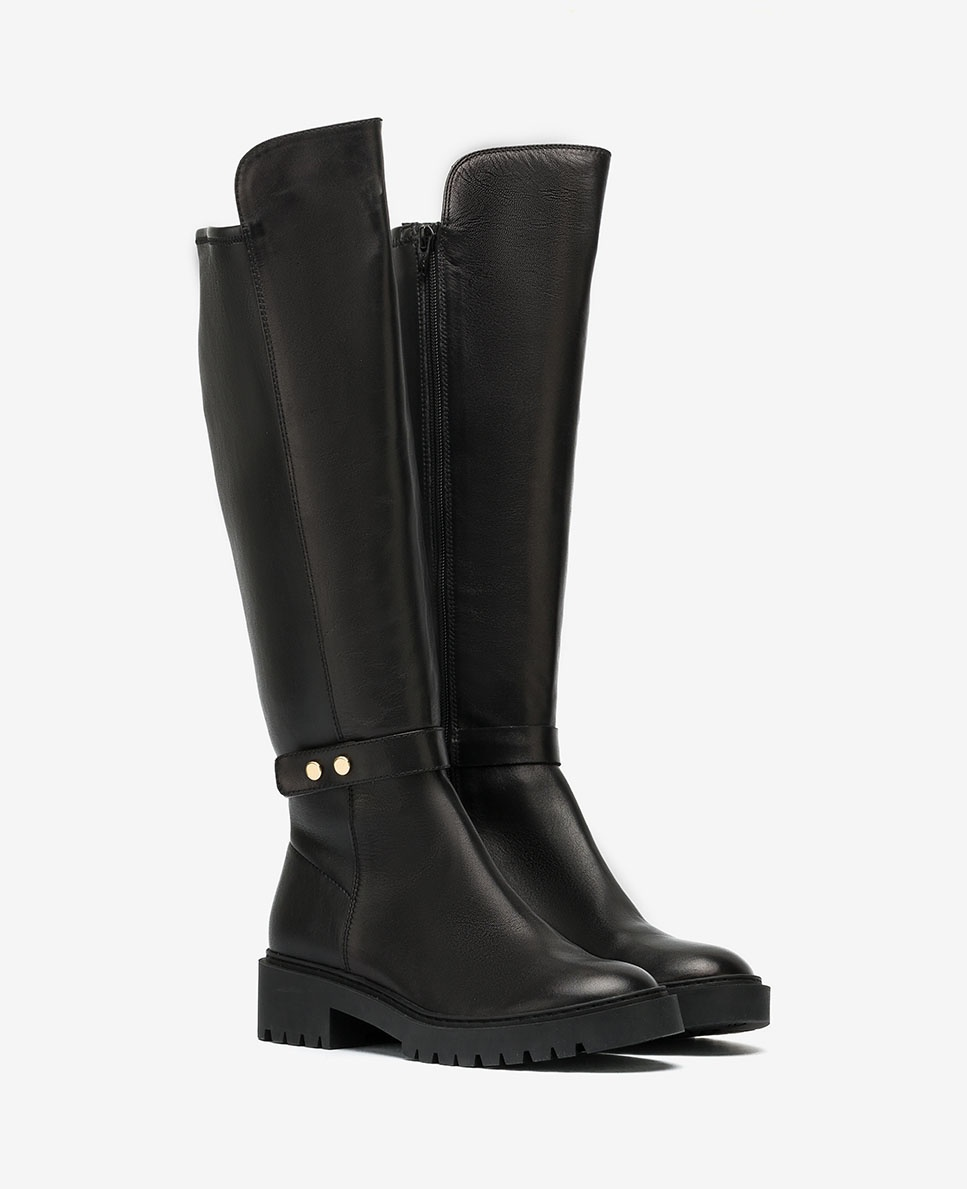 UNISA Black elastic biker boots GALVE_VU_STN black 2