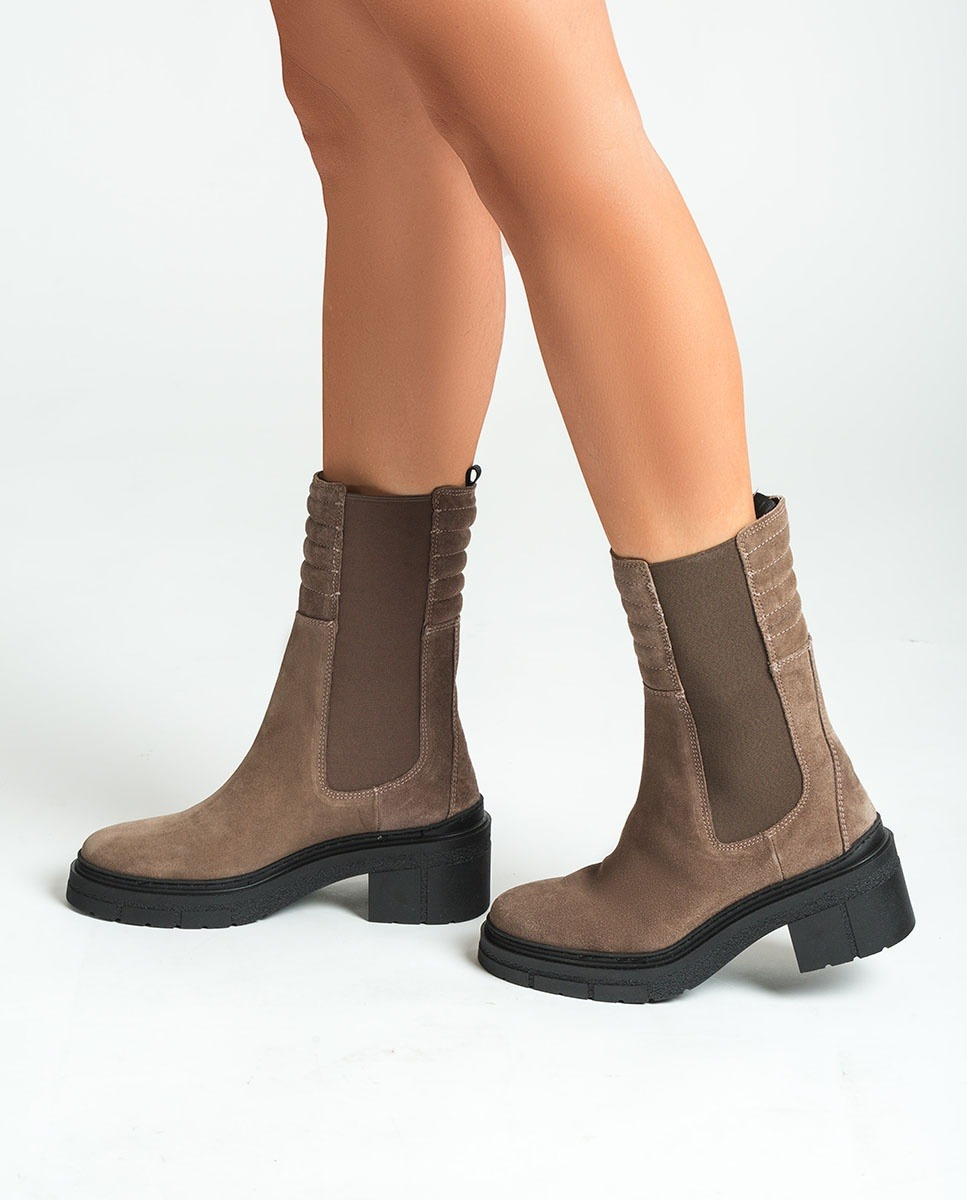 UNISA Kid suede boots with padded shaft JINA_BS taupe 2