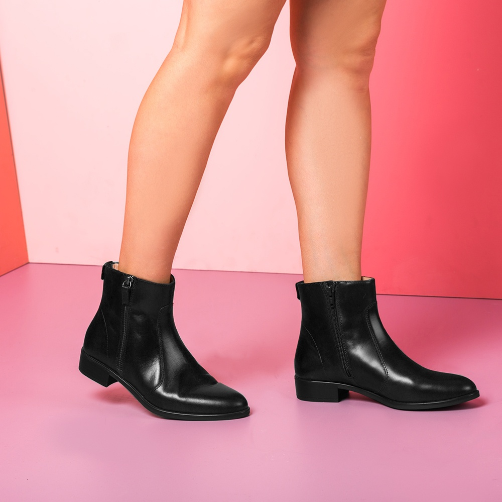 UNISA Flat leather bootie moka BRAS_NE black 2