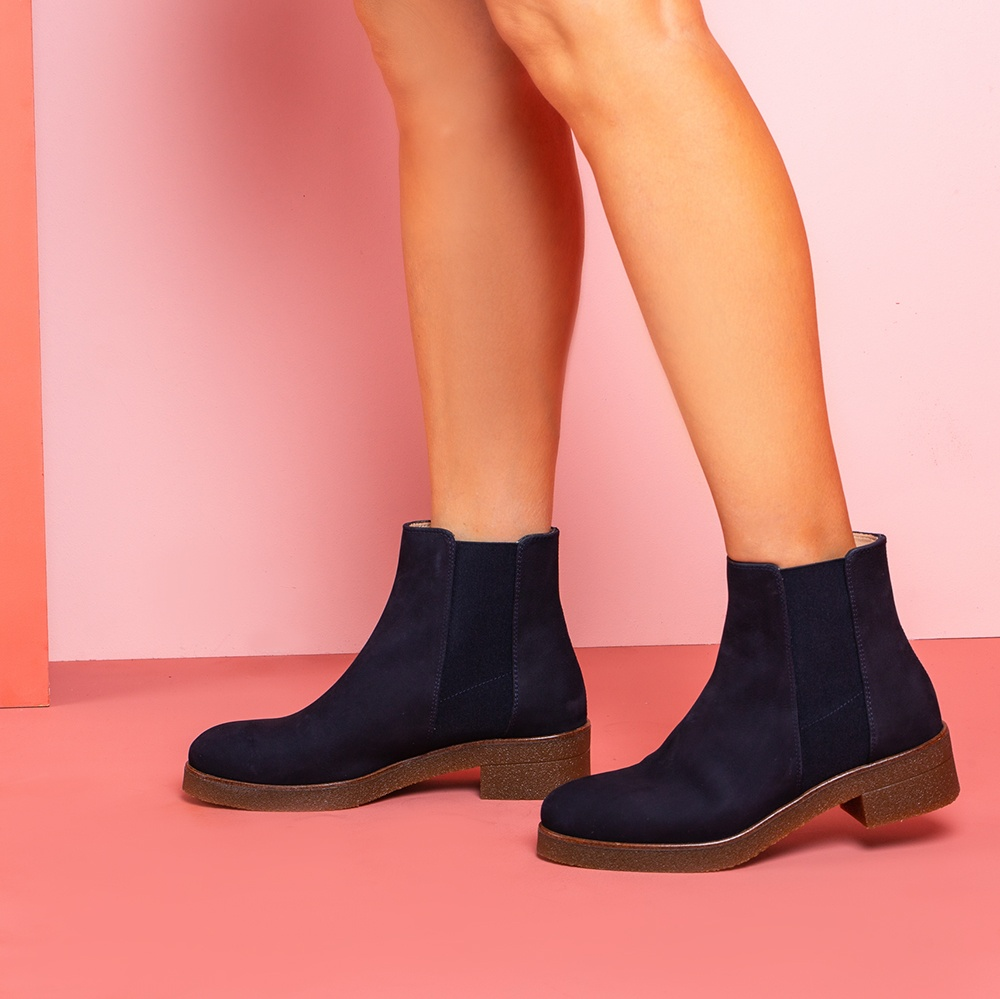 UNISA Soft leather Chelsea booties DESTRA_F19_BLU abyss 2