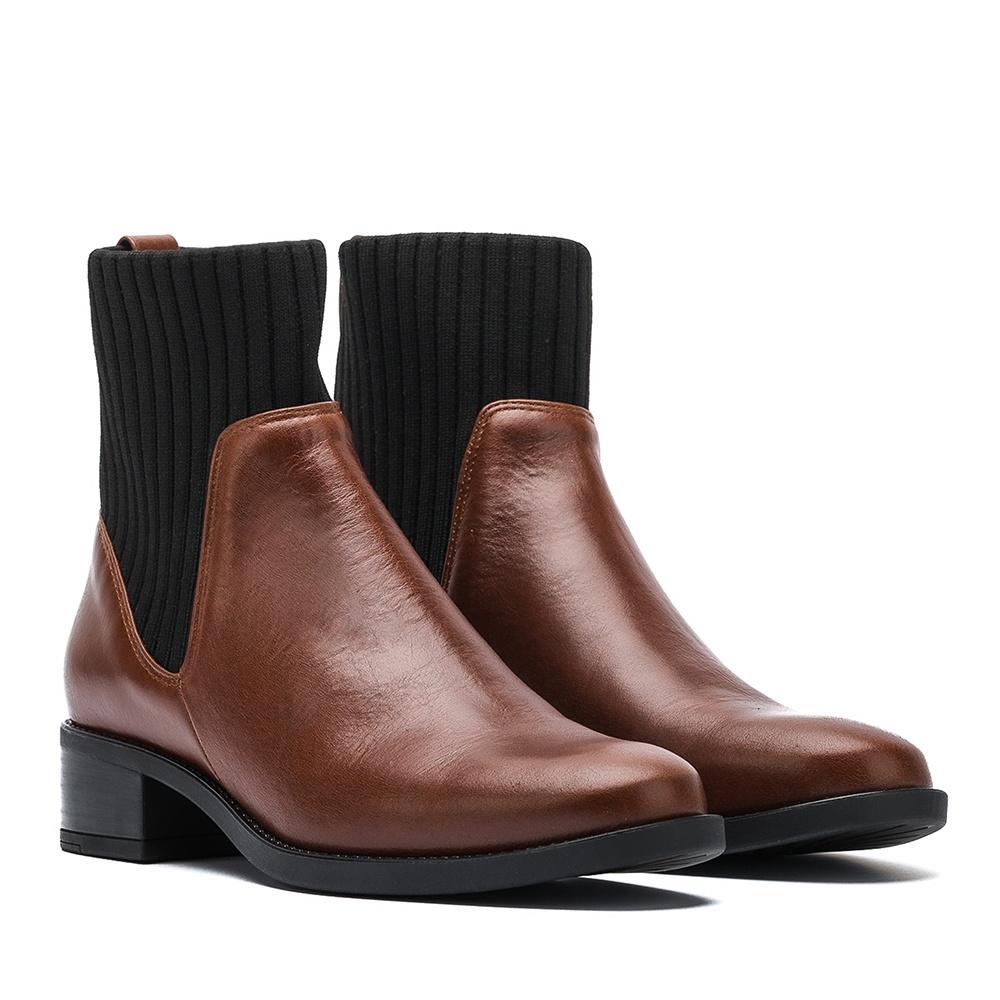 UNISA Leather contrast booties ELLEN_NE moka 2
