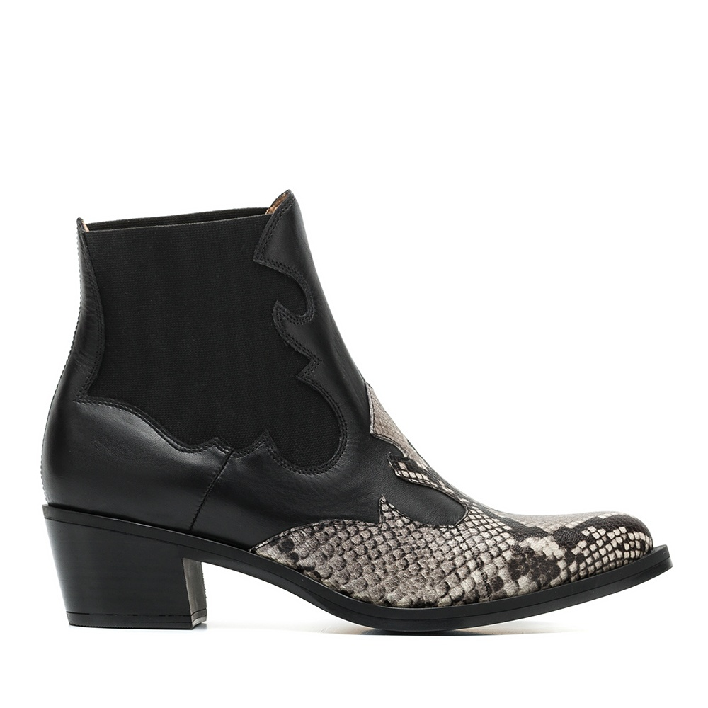 UNISA Cowboy booties contrasted with snake print GENIL_VP_CLF ivory/blk 2