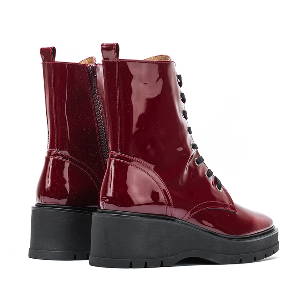 UNISA Red patent leather military booties GRYSO_PA red velvet 2