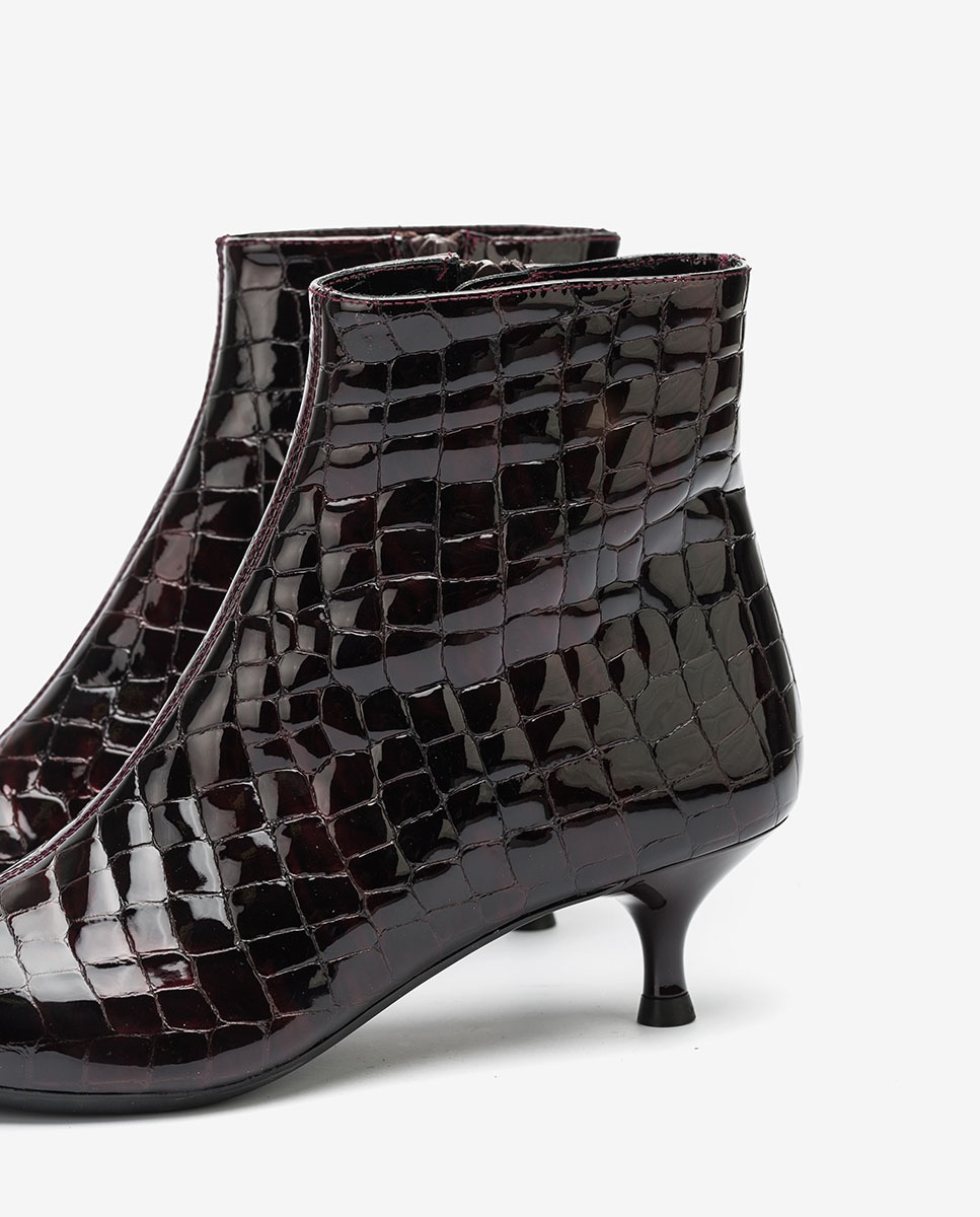 UNISA Pointy toe croc patent leather ankle boots JEISI_CSH grape 2