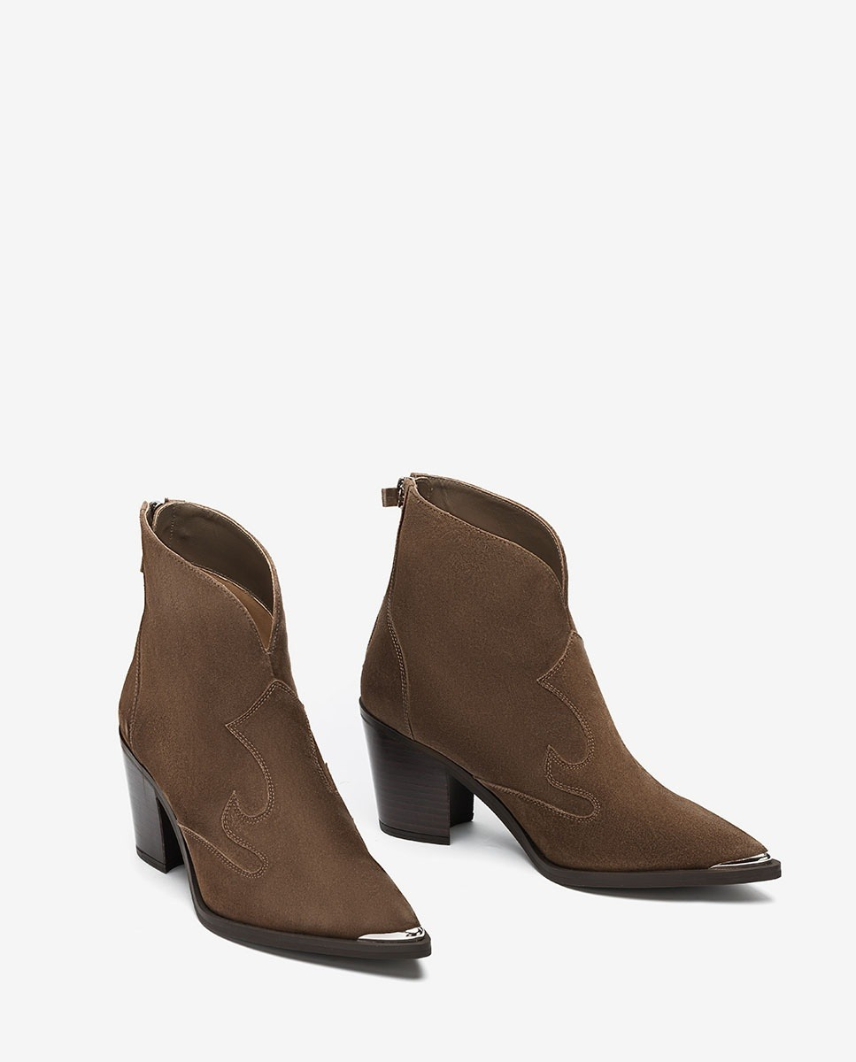 UNISA Kid suede Cowboy ankle boots with metalic forefoot MARCEL_BS taupe 2