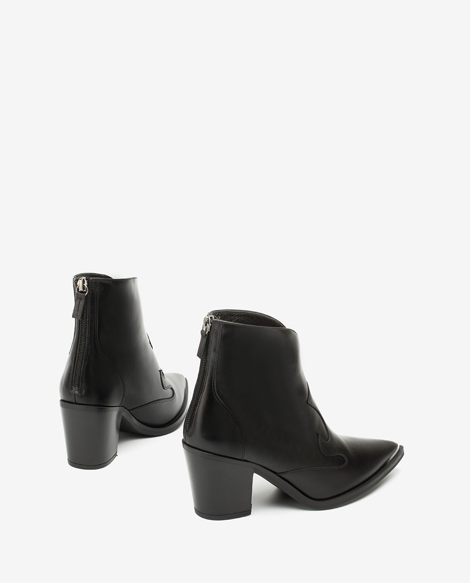 UNISA Black Cowboy ankle boots with metalic forefoot MARCEL_NE black 2