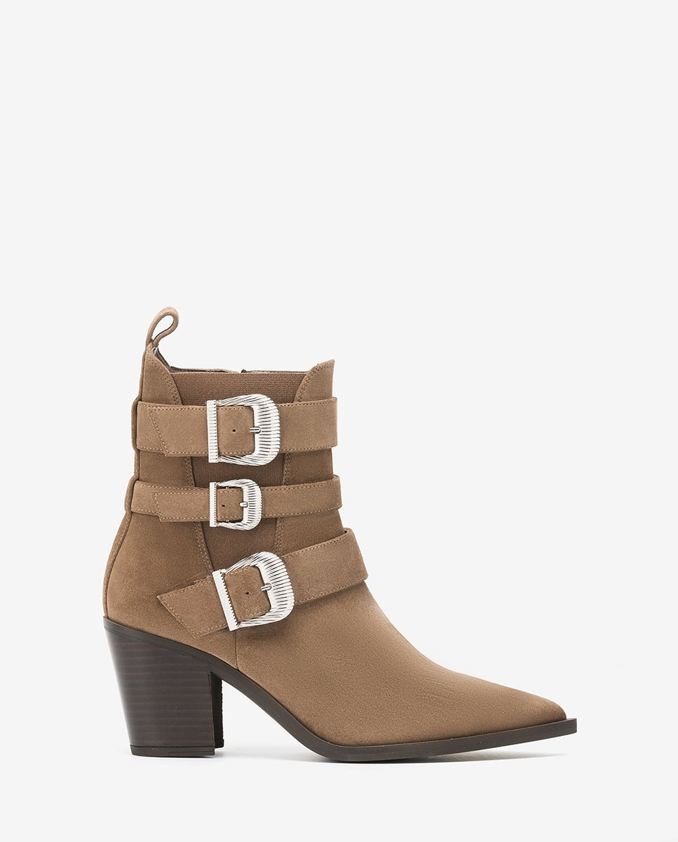 UNISA Kid suede Cowboy ankle boots with buckles MARCHA_BS taupe 2