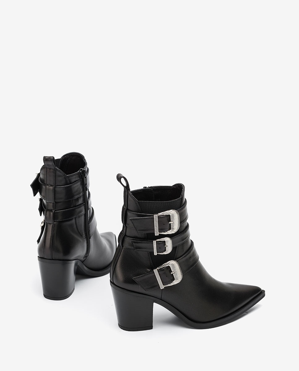 UNISA Black Cowboy ankle boots with buckles MARCHA_VU black 2