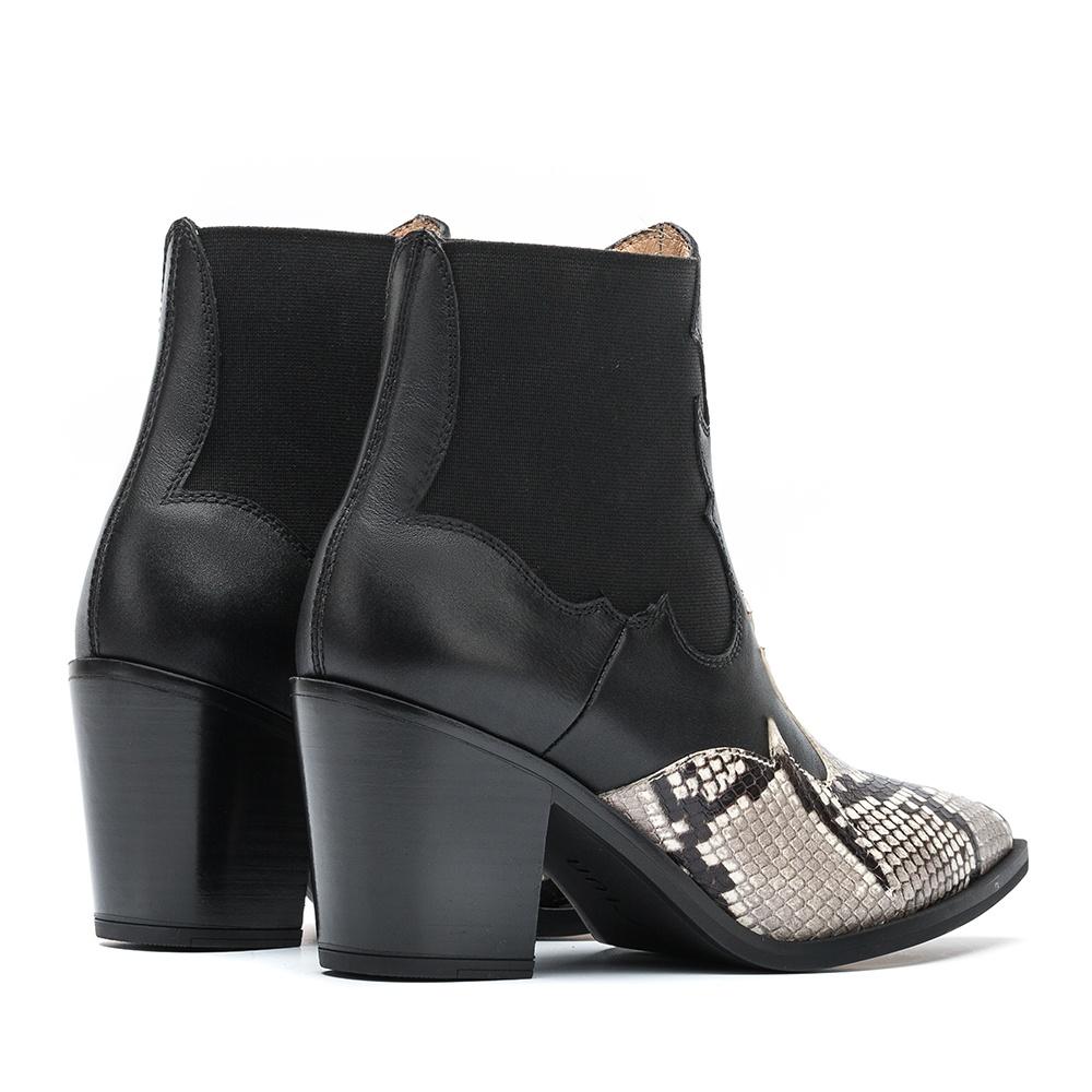 UNISA Cowboy booties heel contrast MISION_VP_CLF ivory/blk 2