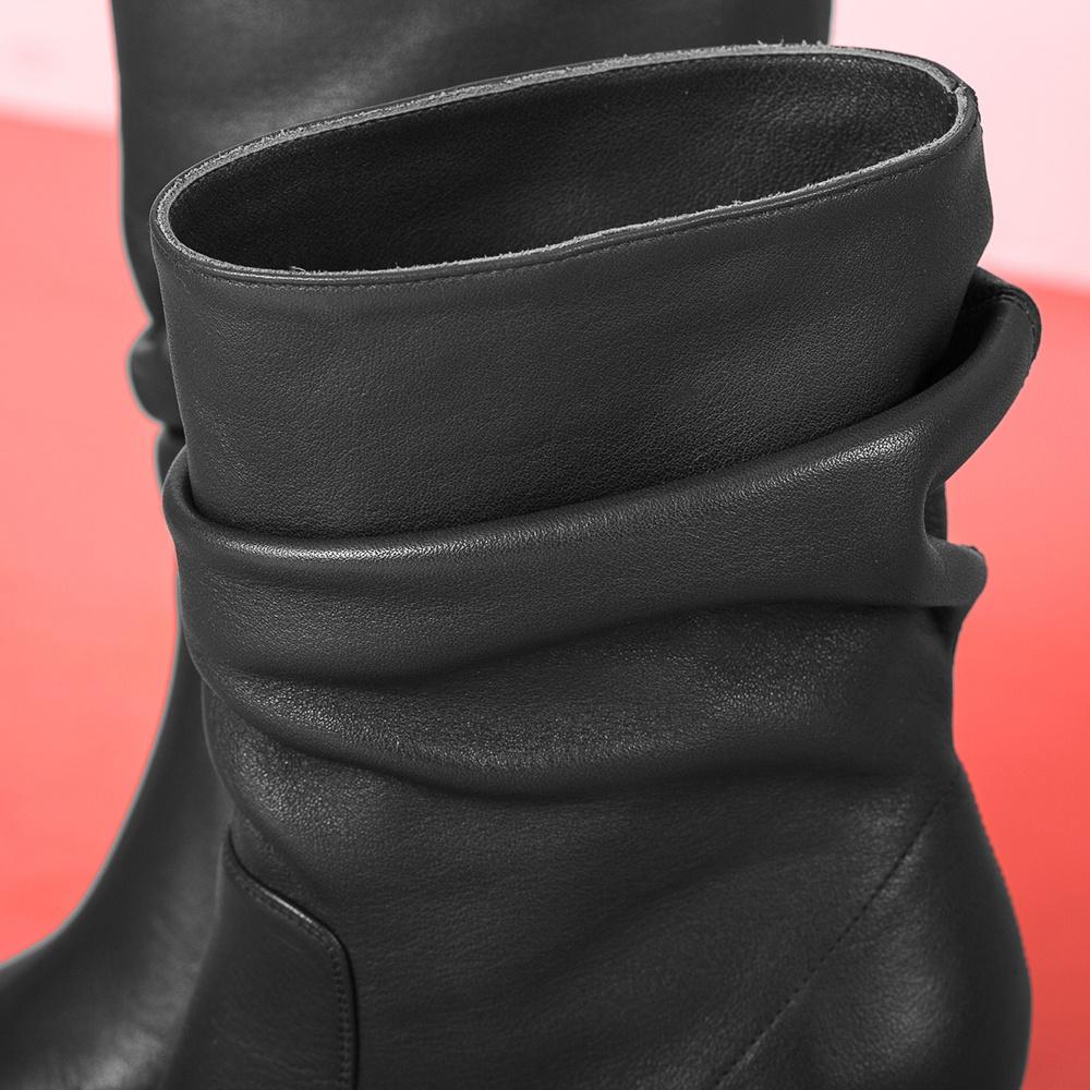 UNISA Leather slouch shaft booties ULANO_GLO black 2