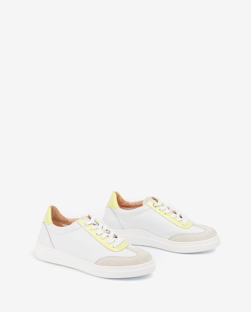 UNISA White sneakers color detail FELIS_NF_PA white/lime 2